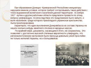 При образовании Донецко -Криворожской Республики инициаторы нарушили важное