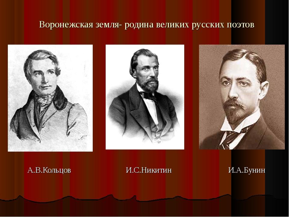 Воронежская земля- родина великих русских поэтов А.В.Кольцов И.С.Никитин И.А....