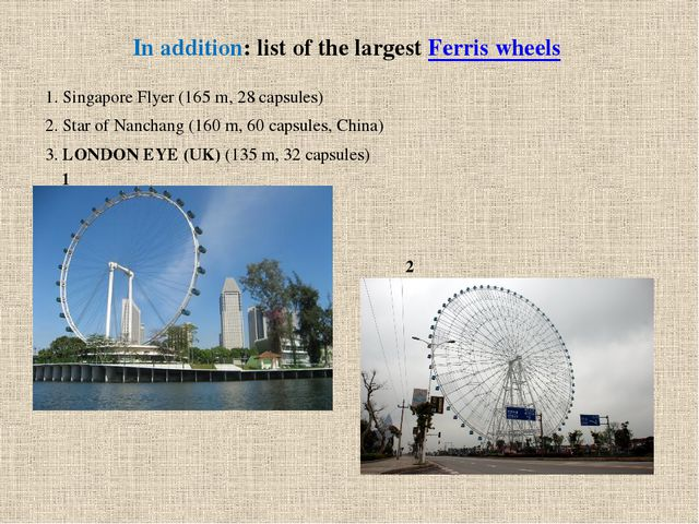 In addition: list of the largest Ferris wheels 