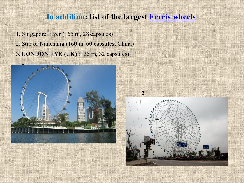 In addition: list ofthe largest Ferris wheels 1. Singapore Flyer...
