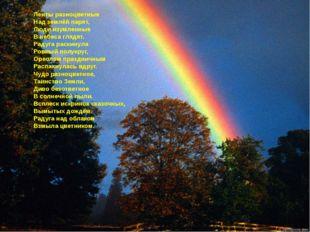 Ленты разноцветные Над землёй парят, Люди изумленные В небеса глядят. Радуга