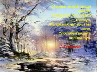 И лишь зимой среди снегов, Когда гол лес, мороз трескуч, На кронах нет листв