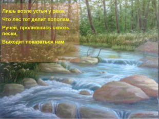 Лишь возле устья у реки, Что лес тот делит пополам, Ручей, пролившись сквозь