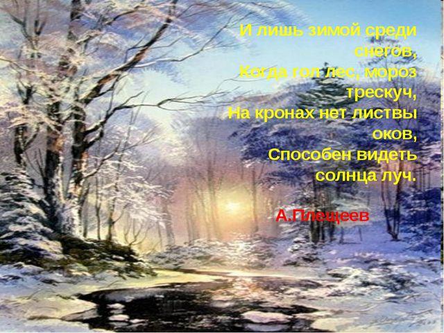 И лишь зимой среди снегов, Когда гол лес, мороз трескуч, На кронах нет листв...