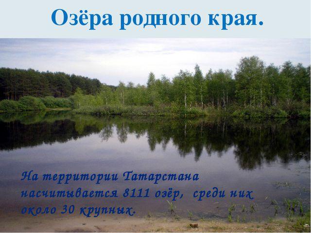 Озёра родного края. На территории Татарстана насчитывается 8111 озёр, среди...