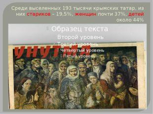 Среди выселенных 193 тысячи крымских татар, из них стариков – 19,5%, женщин п