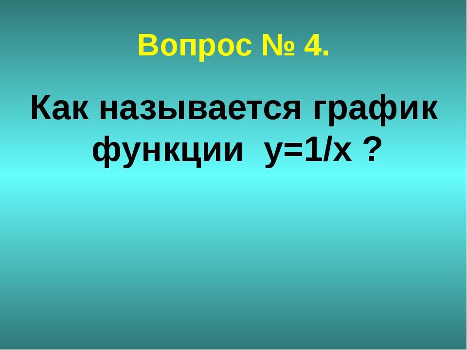 Вопрос № 4. Как называется график функции y=1/x ?