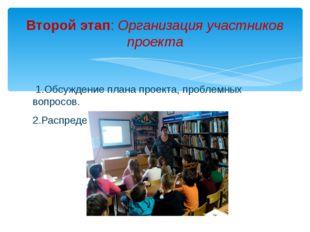 1.Обсуждение плана проекта, проблемных вопросов. 2.Распределение обязанност