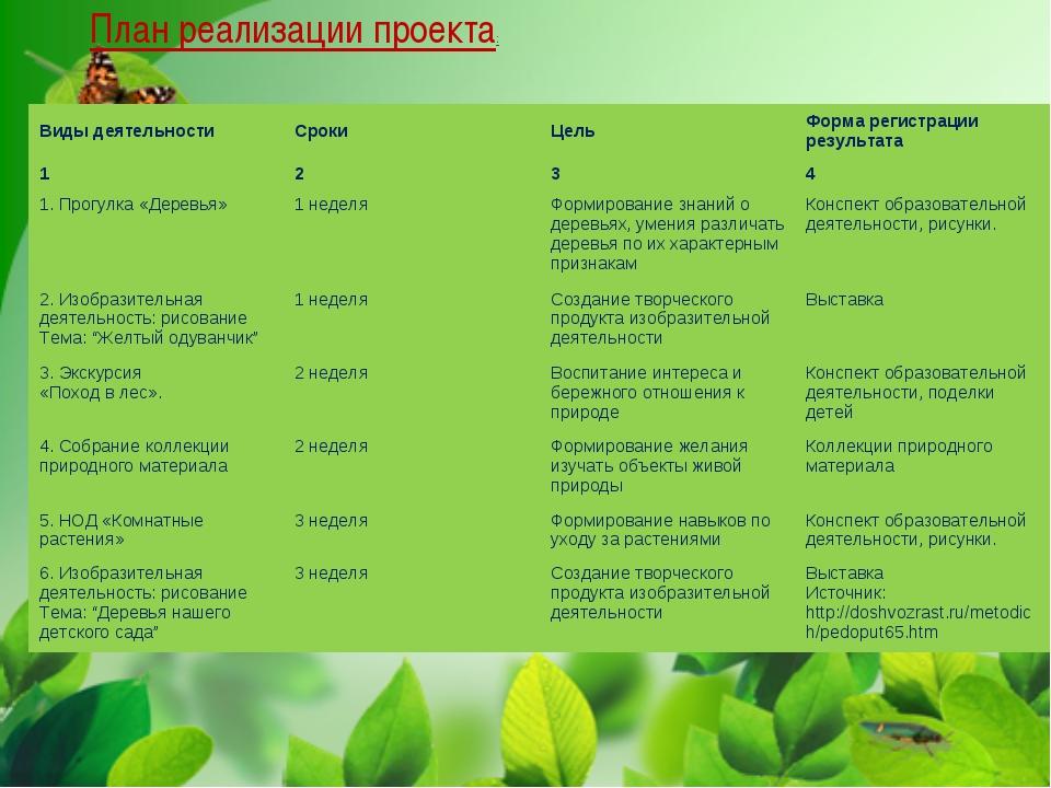 План реализации проекта: Виды деятельностиСрокиЦельФорма регистрации резул...