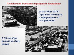 Фашистская Германия наращивает вооружение А 19 октября вышла из Лиги наций 14