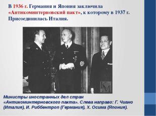 Министры иностранных дел стран «Антикоминтерновского пакта». Слева направо: Г