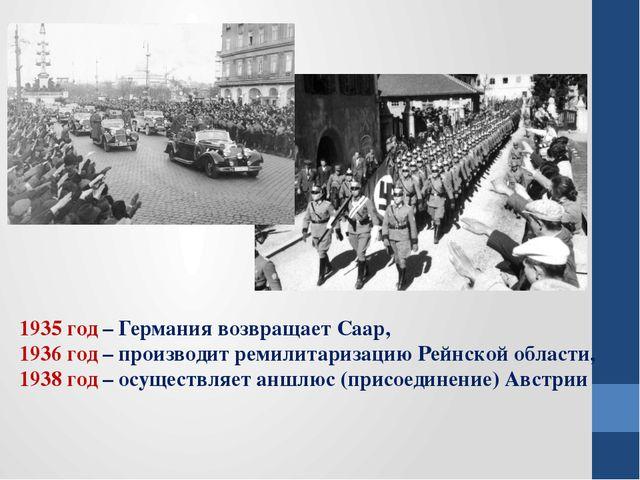 1935 год – Германия возвращает Саар, 1936 год – производит ремилитаризацию Ре...