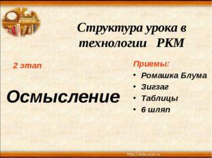 Структура урока в технологии РКМ 2 этап Осмысление Приемы: Ромашка Блума Зигз