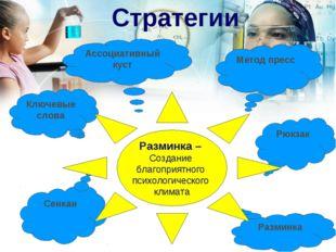 Стратегии Метод пресс Ключевые слова Рюкзак Разминка Сенкан Ассоциативный ку
