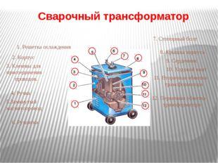 Сварочный трансформатор 1. Решетка охлаждения 2. Корпус 3. Клеммы для присоед