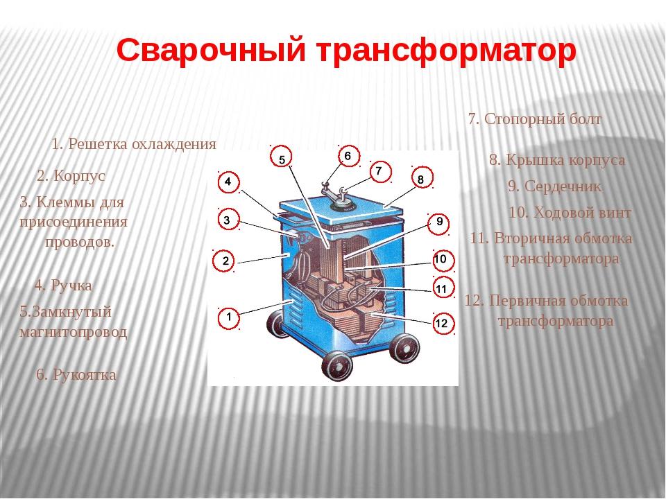 Сварочный трансформатор 1. Решетка охлаждения 2. Корпус 3. Клеммы для присоед...