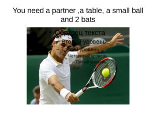 You need a partner ,a table, a small ball and 2 bats