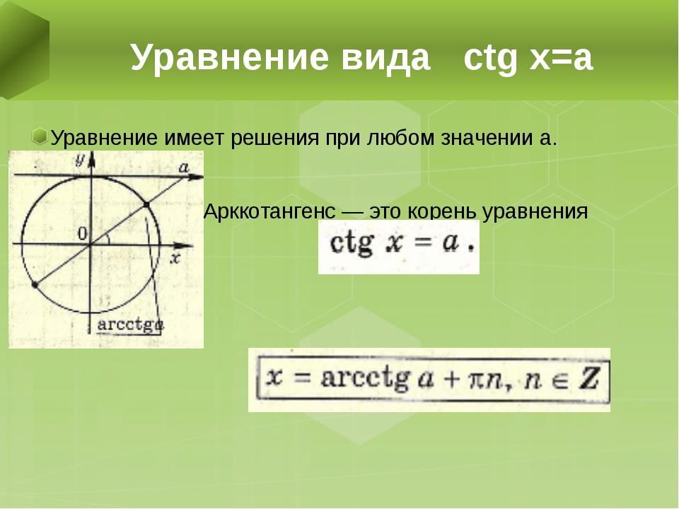 Уравнение имеет решения при любом значении а. Арккотангенс — это корень уравн...