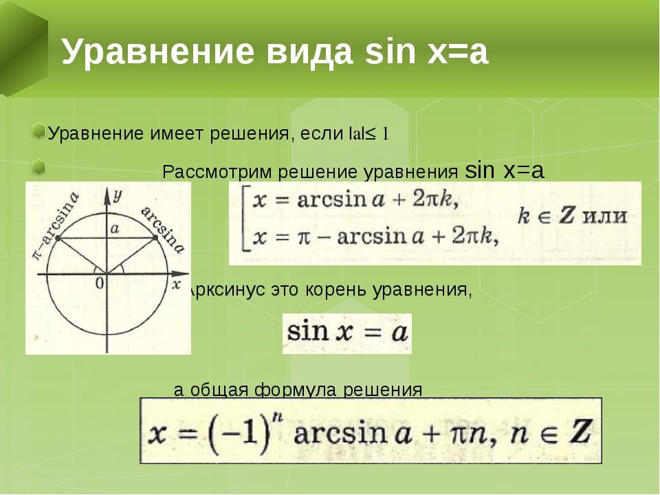 Уравнение имеет решения, если |a|≤ 1 Рассмотрим решение уравнения sin x=a Арк...