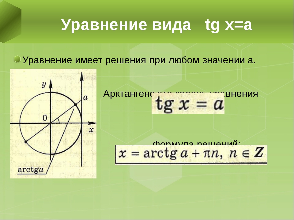 Уравнение имеет решения при любом значении а. Арктангенс это корень уравнения...