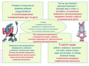 Речевое и психическое развитие ребенка осуществляется в тесной взаимосвязи и