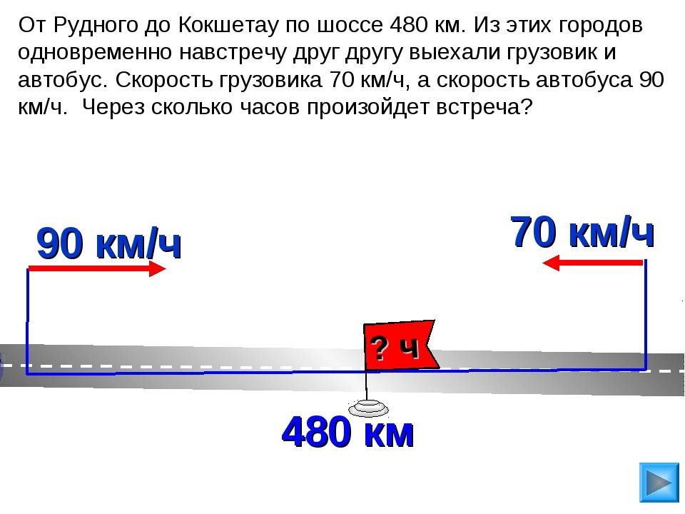 От Рудного до Кокшетау по шоссе 480 км. Из этих городов одновременно навстреч...