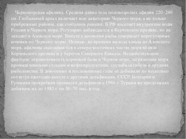 Черноморская афалина. Средняя длина тела половозрелых афалин 220–240 см. Гло...