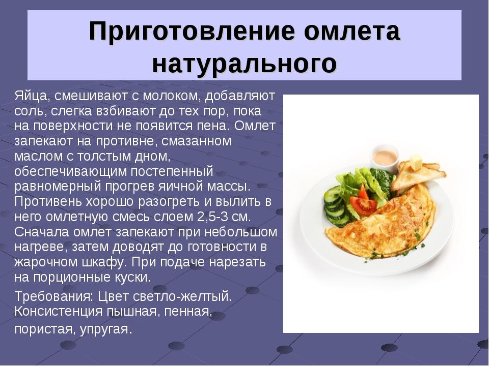 Омлету натурального рецепт