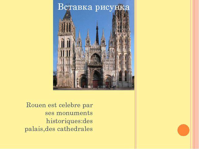 Rouen est celebre par ses monuments historiques:des palais,des cathedrales E...
