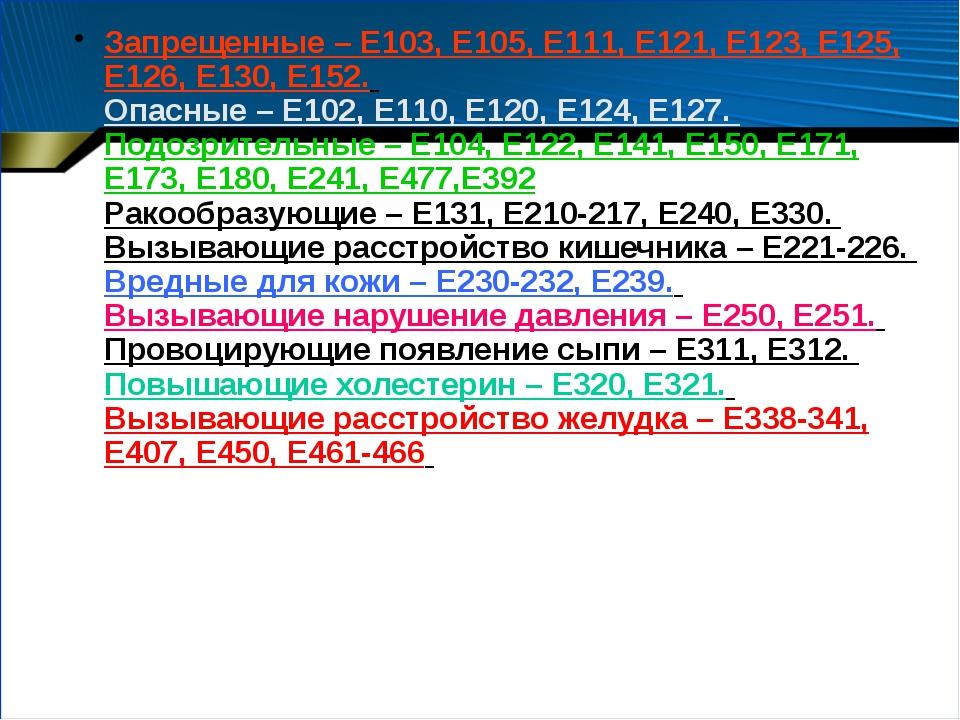 Запрещенные – Е103, Е105, Е111, Е121, Е123, Е125, Е126, Е130, Е152. Опасные –...