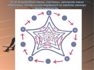 * 4). а). В свободные части «паутины» запишите такие одночлены, чтобы сумма в