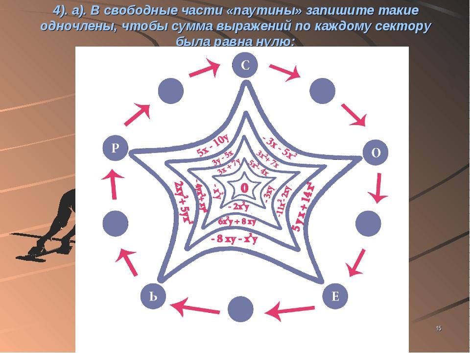 * 4). а). В свободные части «паутины» запишите такие одночлены, чтобы сумма в...