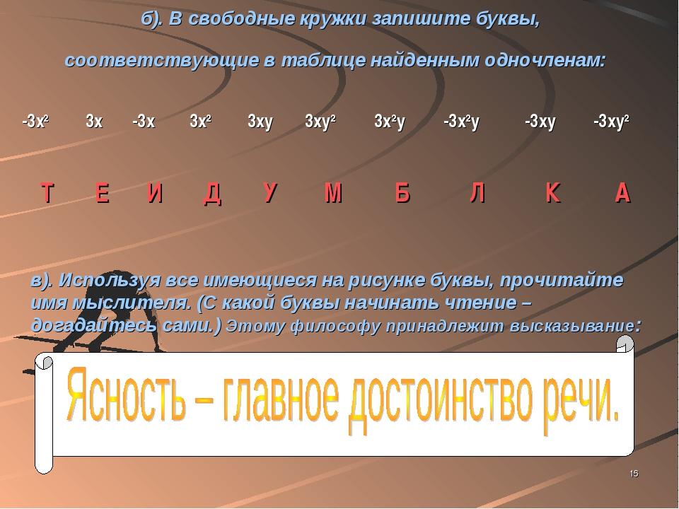 * б). В свободные кружки запишите буквы, соответствующие в таблице найденным...