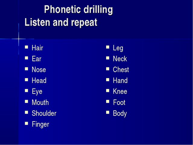 Phonetic drilling Listen and repeat Hair Ear Nose Head Eye Mouth Shoulder Fi...