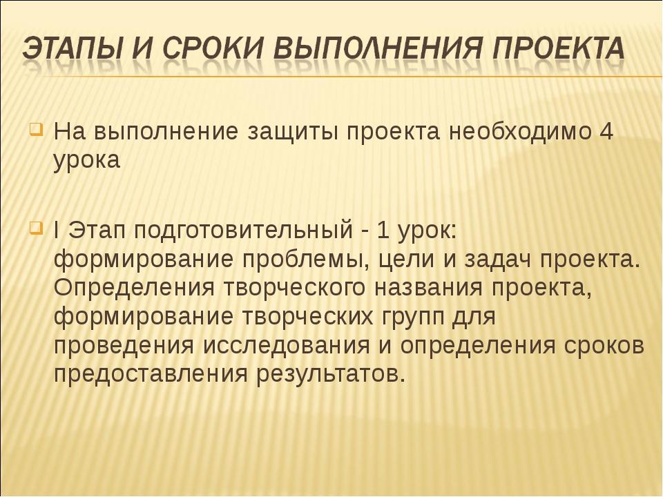 На выполнение защиты проекта необходимо 4 урока I Этап подготовительный - 1 у...