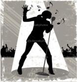 силуэт певца - Стоковая иллюстрация: 10660535