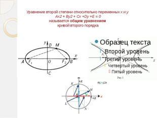 Уравнение второй степени относительно переменных х и у Ax2 + By2 + Cx +Dy +E