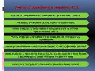 Умения, проверяемые заданием 15.3: адекватно понимать информацию из прочитанн