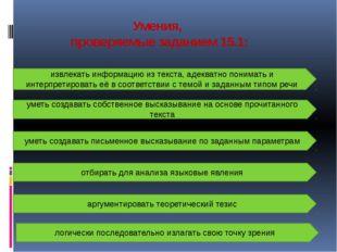 Умения, проверяемые заданием 15.1: извлекать информацию из текста, адекватно