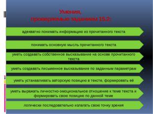 Умения, проверяемые заданием 15.2: адекватно понимать информацию из прочитанн