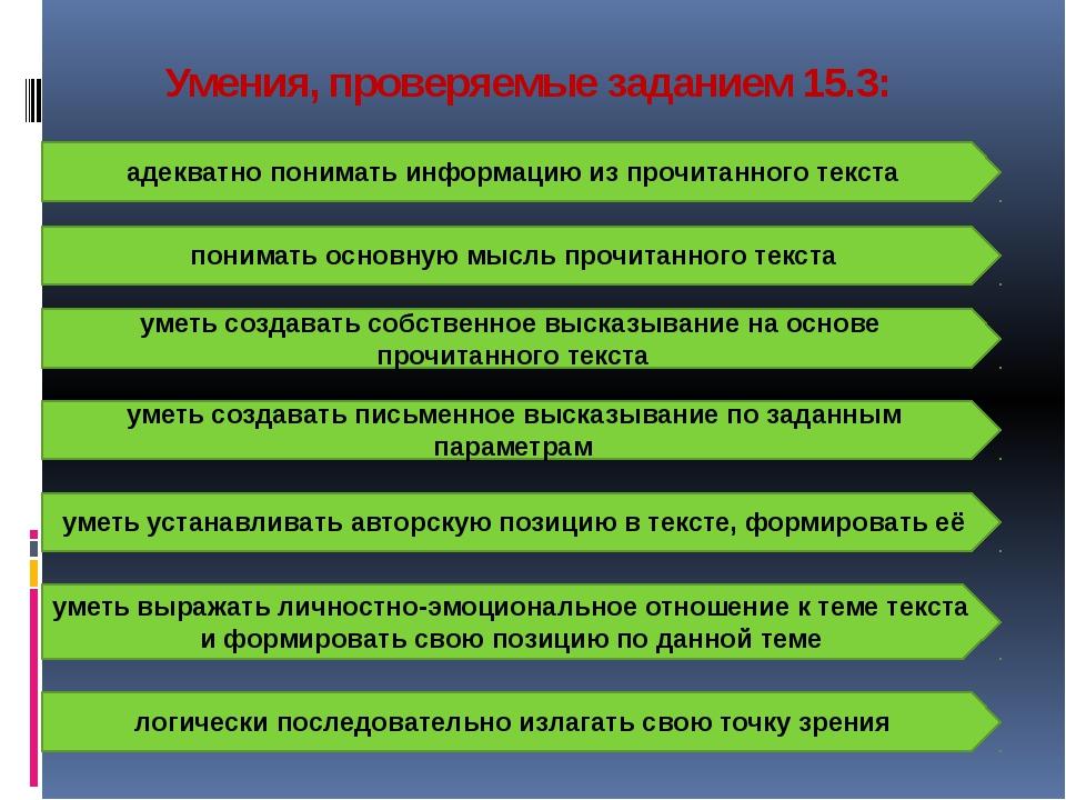 Умения, проверяемые заданием 15.3: адекватно понимать информацию из прочитанн...