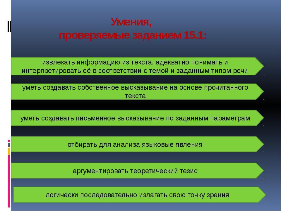 Умения, проверяемые заданием 15.1: извлекать информацию из текста, адекватно...