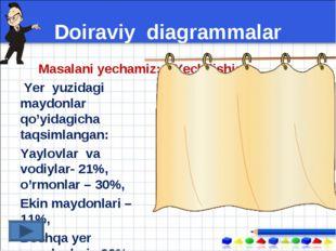 Doiraviy diagrammalar Masalani yechamiz: Yer yuzidagi maydonlar qo'yidagicha