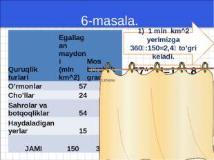 6-masala. 1) 1 mln km^2 yerimizga 360⁰:150=2,4⁰ to'gri keladi. 57*2,4=136,8⁰
