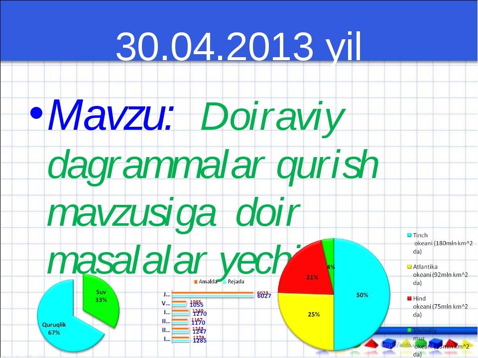 30.04.2013 yil Mavzu: Doiraviy dagrammalar qurish mavzusiga doir masalalar ye...
