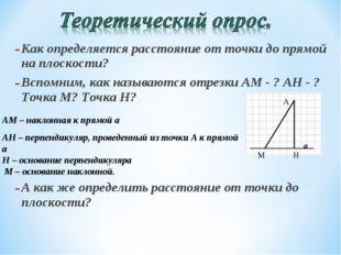 Как определяется расстояние от точки до прямой на плоскости? Вспомним, как на