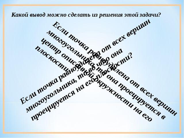 Если точка равноудалена от всех вершин многоугольника, то во что она проециру...