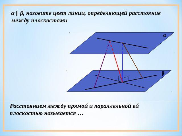 α || β, назовите цвет линии, определяющей расстояние между плоскостями Рассто...