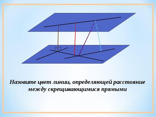 Назовите цвет линии, определяющей расстояние между скрещивающимися прямыми