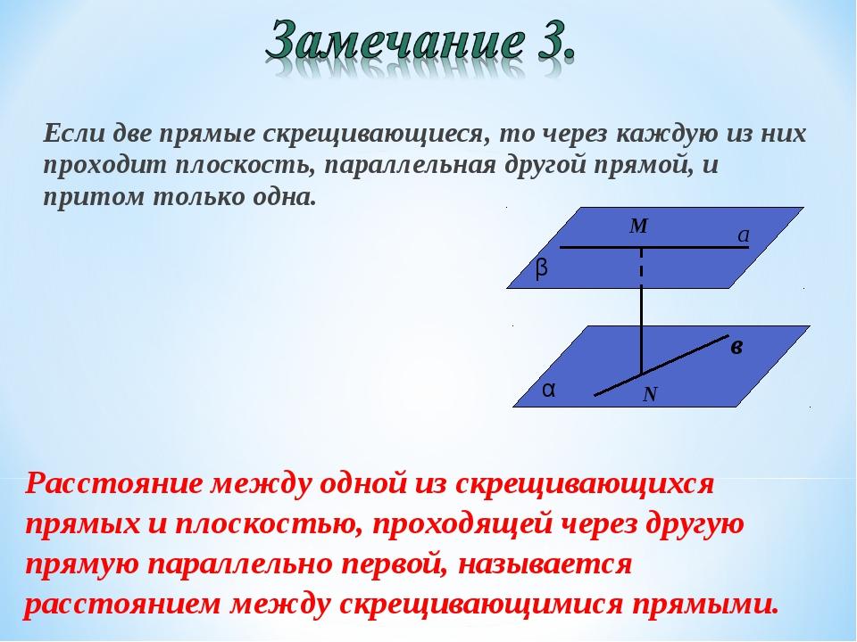 Если две прямые скрещивающиеся, то через каждую из них проходит плоскость, па...